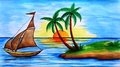 Beautiful drawing for children in simple steps(oil pastel shading Drawing Pictures For Kids, Scenery Drawing For Kids, Art Drawings For Kids, Pictures To Draw, Easy Drawings, Drawing For Children, Oil Pastel Drawings, Oil Pastel Art, Colorful Drawings