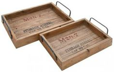 Rustic Wood Tray - Set of 2 - Trays And Bowls - Home Accents - Home Decor | HomeDecorators.com