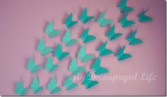 DIY paper butterfly wall art! Doing this for Leia's room with different shades of pink & purple!