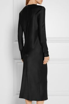 GABRIELLE'S AMAZING FANTASY CLOSET   Haider Ackermann Black Crepe-Backed Satin Shift Dress (Back View) You can see the Front View and the Rest of the Outfit and my Remarks on this board.  -  Gabrielle