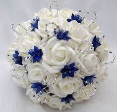 Posies – artificial wedding flowers – brides posy bouquet and 2 bridesmaids posies, ivory & royal blue Blue Wedding Flower Bouquets Blue Wedding Flowers, Flower Bouquet Wedding, Wedding Colors, Flower Bouquets, Wedding Blue, Blue Flowers, Royal Blue Wedding Decorations, Blue Bridal, Hawaii Wedding