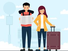 Traveling Couple designed by Conania. Couple Illustration, Travel Illustration, Illustration Sketches, Late Happy Birthday Wishes, Communication Art, Couple Art, Travel Couple, Flat Design, Easy Drawings
