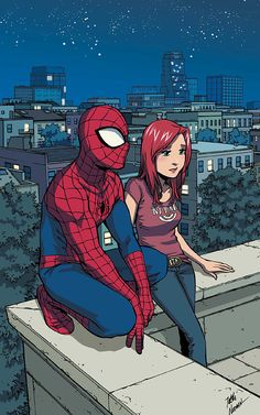 (Spiderman loves Mary Jane Cover) By: Takeshi Miyazawa. Marvel Comic Character, Comic Book Characters, Comic Books Art, Comic Art, Spiderman Girl, Amazing Spiderman, Marvel Art, Marvel Heroes, Marvel Universe