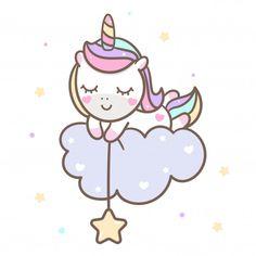 Kawaii Unicorn Vector Sleeping On Cloud Unicorn Drawing, Unicorn Art, Magical Unicorn, Cute Kawaii Drawings, Kawaii Art, Unicorn Wallpaper Cute, Unicornios Wallpaper, Unicorn Stickers, Easy Drawings