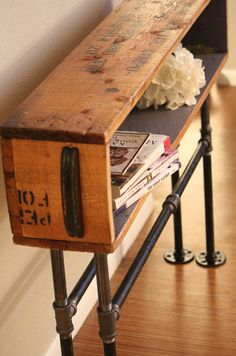 This would be great as a charging station, and place for my purse, keys, etc. Industrial Table, DIY, Wood Crate, Plumbing Pipe