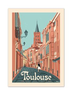 """€25 . Affiche Illustration Originale TOULOUSE """"Rue du Taur"""" . Papier 350g/m² Couché Mat"""