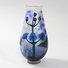 French Art Nouveau Cameo Glass Vase by Daum.  Available exclusively at Macklowe Gallery.