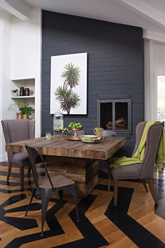 Mixed reclaimed pine is recycled and reused to craft the Tahoe square dining table, which proudly bares all the imperfections and color variations that make it a one-of-a-kind piece for your dining room.