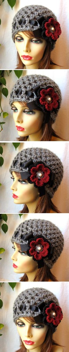 Charcoal Grey Women's Hat with ribbon and 2-color flower - *Inspiration* I LOVE this and it's so basic, mesh hat, ribbon woven through, flower added <3