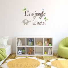 Children Wall Decal Baby Quote It's a Jungle in Here - Nursery Decals Letter Child Elephant Bird Leaves  $34.00 Little Moose Decals-Etsy