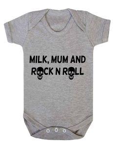 Baby Bodysuit Babygrow Milk, Mum, Rock N Roll Skull Rocker Baby Vest Baby Play, Baby Kids, Baby Shirts, Onesies, Baby Bug, Baby Rocker, Baby Bodysuit, Baby Onesie, Baby Vest
