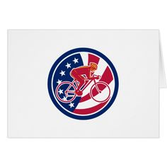 American Cyclist Cycling USA Flag Icon Card #cards #christmascard #holiday