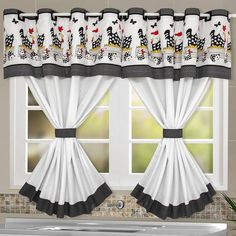 Cortina de Cozinha Galinha com Bandô Chicken Curtain with Bandot 55 kitchen curtains andLittle kitchen curtainsLittle kitchen curtains Kitchen Curtain Designs, Window Curtain Designs, Kitchen Curtain Sets, Curtain Styles, Kitchen Curtains, Large Curtains, Home Curtains, Modern Curtains, Vintage Curtains