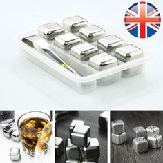 *uk seller* 8x #stainless steel soapstone glacier ice cube #drink #chiller w/ ton,  View more on the LINK: 	http://www.zeppy.io/product/gb/2/252253032916/
