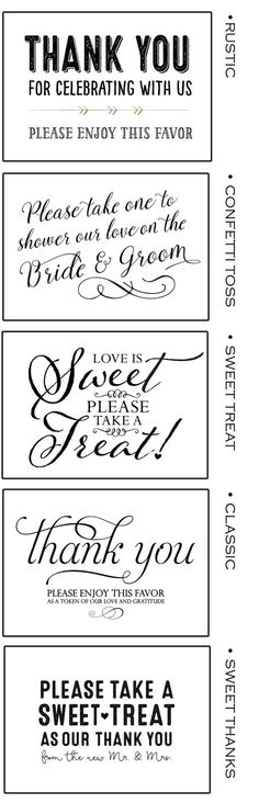 Free Printable Favor Signs at www.mavora.com - Matches many awesome Mavora Art and Design Favor Bags!
