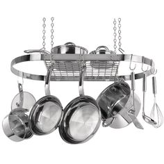 Hanging Pot and Pan Rack Holder Storage Oval Stainless Steel Kitchen Cookware #RangeKleen