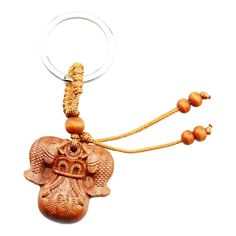 FOY-MALL Lucky Double Fish Money Bag Rosewood Carved Women/Men Car Keychain for Safe and Sound M1053 * See this great image  : Valentine Gifts