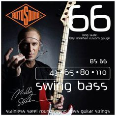 Rotosound BS66 Billy Sheehan Signature Stainless Steel Roundwound Long Scale Bass Strings 43-110