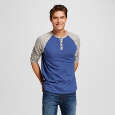Men's Henley Raglan Tee Blue Xxl - Mossimo Supply Co.