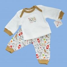 This premmie boys two-piece outfit is made of high quality cotton.  Size:  1.8-2.7kgs (4-6lbs) Brand:  Preemie-Yums http://premmieto2.com.au/product/premature-baby-clothes-boys-preemieyums-pooches-long-johns/
