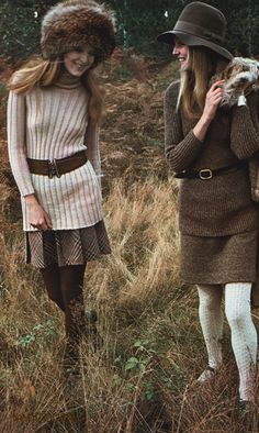 Ingrid Boulting on the right.Vintage Editorials: Boulting's Winter Knits...Scanned from Elle Magazine Nov 1969 by Miss Booty Barefoot. Vintage Fashion visibly explored in all it's glory!