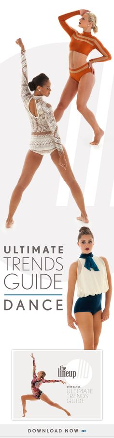 Download the Ultimate Trends Guide to get access to the best 2018 dance costume trends! This guide includes trends for lyrical, hip hop, jazz, and more!