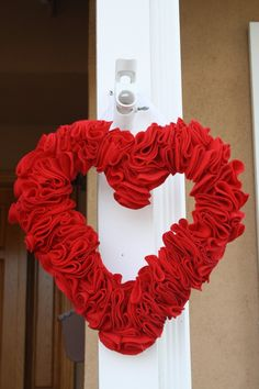Wreath Home Decor Valentine's Red Heart Felt Door Hanging. $22.00, via Etsy.