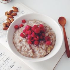 In oatmeal we trust  Breaking fast on banana oats topped with fresh raspberries and unpictured yogurt  guys I'm telling you this was absolutely fabulous  the banana chunks made it so nice