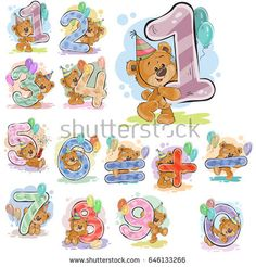 A set of vector illustrations with a brown teddy bear and numerals and mathematical symbols. Prints, templates, design elements for greeting cards, invitation cards, postcards