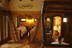 Interior of the Olympic Peninsula Treehouse - love the bunk room.  This treehouse was featured in the February 2006 Architectural digest magazine. Built as family guesthouse in the Swiss chalet style.
