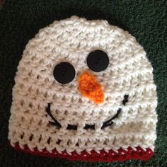 snowman hat for ages newborn to 3 yrs.