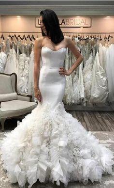 Mermaid Wedding Dress,Sweetheart Wedding Dresses,Ruffle Wedding Dress,Tulle Wedding Gown,Long Bridal Dress,White Wedding Gown #mermaid #wedding #bridal #ruffles #long #sweetheart #okdresses
