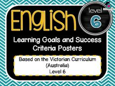 VICTORIAN CURRICULUM UPDATED TO VERSION 8.3 Grade Level 6 All English Learning Goals Success Criteria! VICTORIAN CURRICULUM This packet has all the posters you will need to display the learning goals for the whole year: Grade Level 6 VICTORIAN Curriculum English - Reading - Writing - Speaking and Listening (Language, Literature, Literacy)