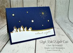 Starry Starry night card using Stampin' Up Sleigh Ride Edgelits from Maple Leaf Memories