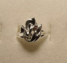 Size 8 Calla Lily Flower Silver Ring Plated FREE Shipping! PROM Jewelry!