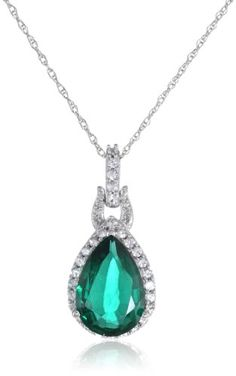 """10k White Gold Pendant Necklace with Pear-Shape Created Emerald, Created White Sapphires, and Diamonds, 18"""" Amazon Curated Collection"""