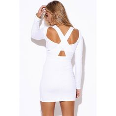 "White Cutout Backless Mini Dress #500-L Featuring unique cut out open back with intricate design, long sleeves and Bodycon fit. A truly versatile piece, you will feel effortlessly stylish in this comfy dress. Made of extra heavy white cotton jersey. Stretchy. 92% Cotton, 2% Spandex. Made in USA. Model is 5'10"", bust 34"", waist 26"", hips 35"" and she's wearing a small. Stretchy material. Measurements: bust 32"", waist 26"", hip 34"", length 30"". Price firm unless bundled. W by Wenjie Dresses Mini"