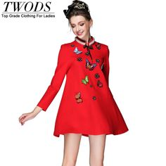 S- 5xl Korean Style A-line Mini Dress Pearl Stand Collar Butterfly Appliques Long Sleeve Autumn Like if you are Excited! http://www.artifashion.net/product/s-5xl-korean-style-a-line-mini-dress-pearl-stand-collar-butterfly-appliques-long-sleeve-autumn/ #shop #beauty #Woman's fashion #Products