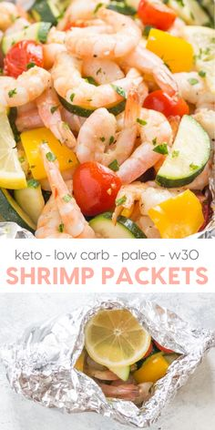 Shrimp Foil Packets (paleo, Keto Low Carb Shrimp Foil Packets recipe with garlic, lemon and herbs! Keto Low Carb Shrimp Foil Packets recipe with garlic, lemon and herbs! Low Carb Shrimp Recipes, Garlic Recipes, Seafood Recipes, Paleo Recipes, Paleo Food, Healthy Food, Foil Packet Meals, Foil Packets, Fat Bombs