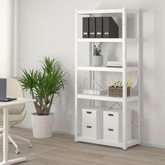 BROR Open kast, wit. Koop online of in de winkel - IKEA White Shelving Unit, White Shelves, Shelves In Bedroom, Bedroom Storage, Plant Shelves, Storage Shelves, Ikea Family, Galvanized Steel, Cleaning Wipes
