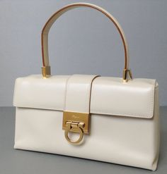 Salvatore Ferragamo Cream Leather Kelly Bag W Shoulder Strap