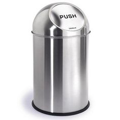 The Pushman trash can from Blomus adds a modern touch to any room. Sleek stainless steel and a bullet design make this trash can an attractive and functional way to keep your trash in order.