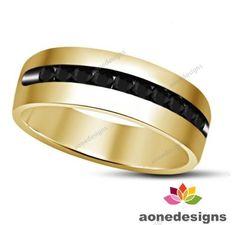 10K Mens Yellow Gold Round Diamond Channel Set Wedding Band Ring 1.00 Carat #aonedesigns #WeddingBand