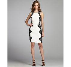 A.B.S. by Allen Schwartz ivory and black sateen sleeveless lace detail dress