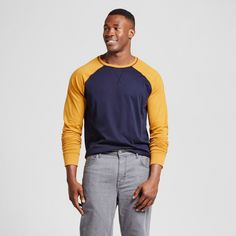 Men's Big & Tall Standard Fit Long Sleeve Baseball T-Shirt - Goodfellow & Co Gold 5XBT