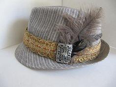 Fedora Hat, Linen, Woman Fedora, Bling Hat, Womans Hat, Fun Hat, Feather Hat, Rhinestones, Womens Fedora Hat on Etsy, $28.00