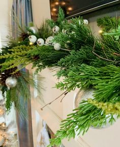 festive christmas mantle