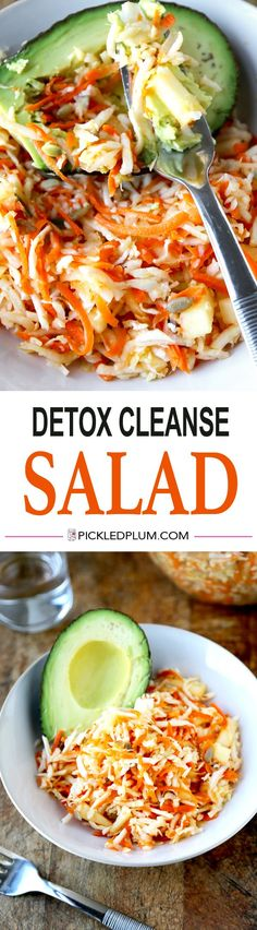 Detox Cleanse Salad Recipe - 10 minutes to make from start to finish. Very Tasty! Gluten Free and Vegan. http://www.pickledplum.com/detox-cleanse-salad-recipe/