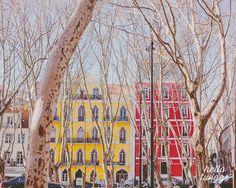 Portugal Photos,Travel Photography, Lisbon Photos, Architecture, European Photography - Colourful Street via Etsy
