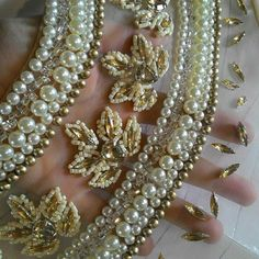 Tiger yellow fire cut pearl doublets with open work natural leaflets design Pearl Embroidery, Tambour Embroidery, Couture Embroidery, Indian Embroidery, Embroidery Fashion, Hand Embroidery Designs, Embroidery Stitches, Embroidery Patterns, Cut Work Embroidery